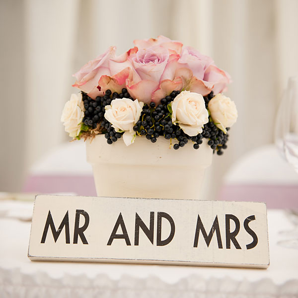 wedding flowers with Mr and Mrs sign